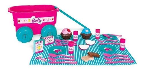 Kit Boneca Barbie + Kit Piquinique Com Cupcake Com Rodinha