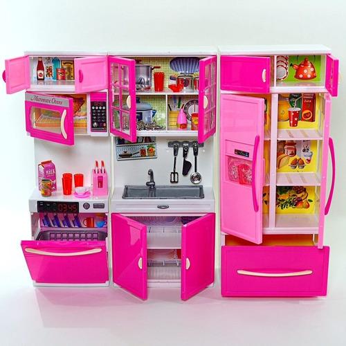 Kit Cozinha Completa Infantil Com Luz E Som Geladeira Pia