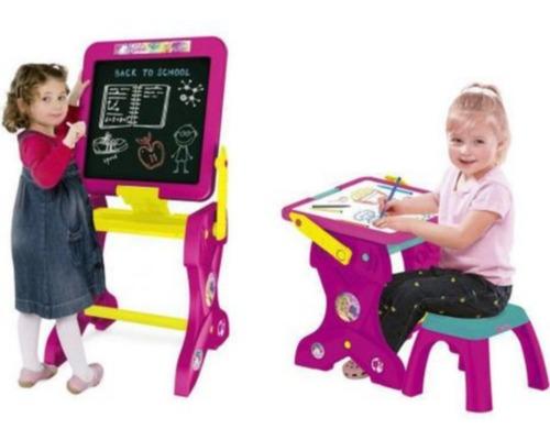 Mesa Educativa Da Barbie E Lousa Magica Com Banco 2 Em 1