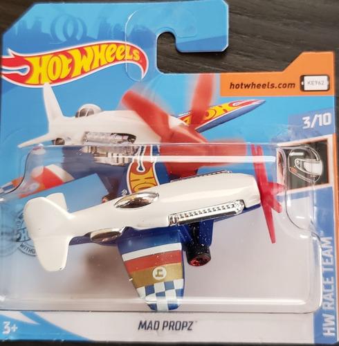 Carrinho Hot Wheels Avião Mad Propz Branco Escrito Hot Wheel