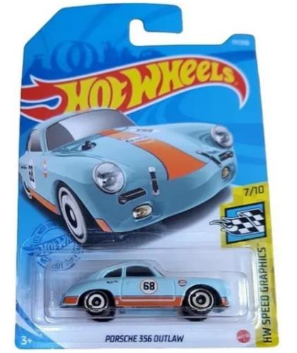 Carrinho De Hot Wheels - Porsche 356 Outlaw Azul Redondo