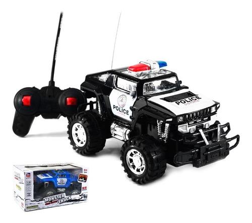Carrinho De Controle Remoto 4x4 Monster Truck Policia - Preto