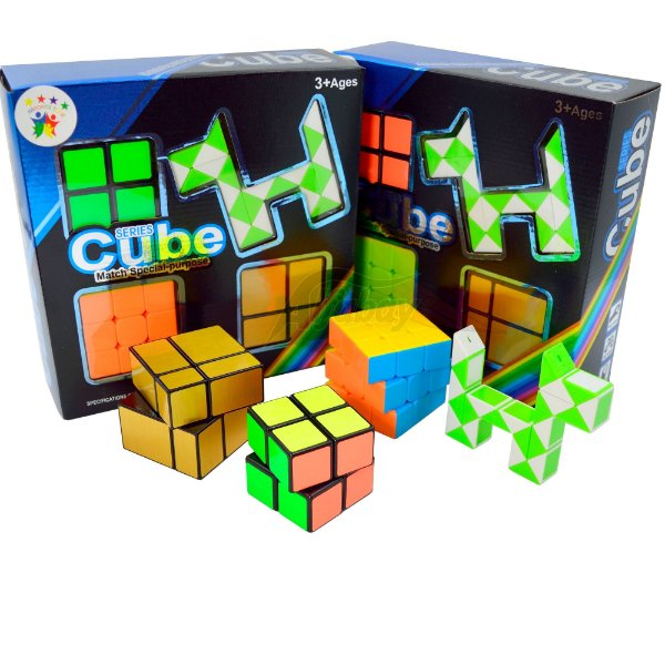 Box FanXin 3x3x3 Stickerless + 2x2x2 + Mirror 2x2x2 + Snake Tangram Puzzle