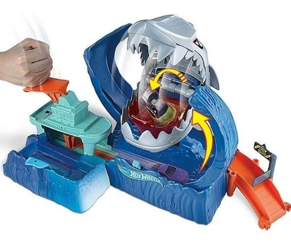Hot Wheels - Pista C/ Lançador - Robô Tubarão - Mattel Gjl12