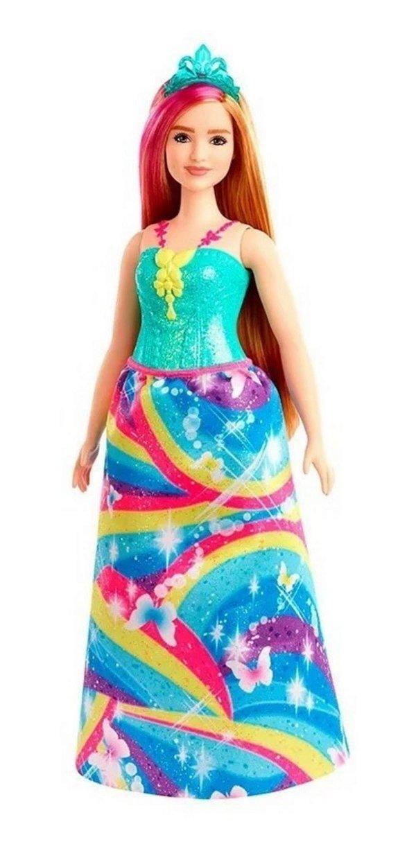 Barbie Dreamtopia Princesa Loira Vestido Arco Iris Cabelo Colorido