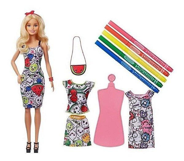 Barbie Crayola Roupas De Colorir Pintando Seu Estilo - Vestido Magico