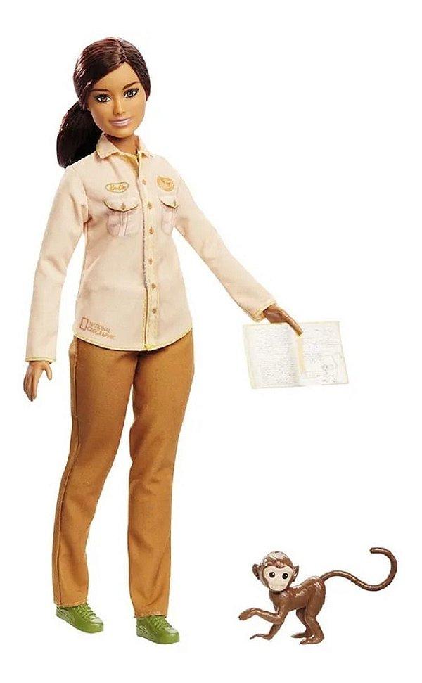 Boneca Barbie National  Geographic Conservacionista + Pet Macaquinho