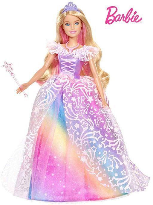 Barbie Dreamtopia Princesa Vestido Arco Íris Brilhante - Vestido Magico - Cabelo Colorido