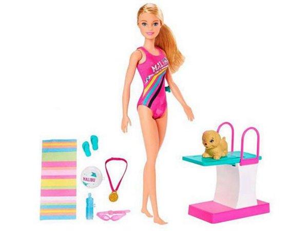Boneca Barbie Dreamhouse Adventures Nadadora + Pet Nadador - Com Acessórios
