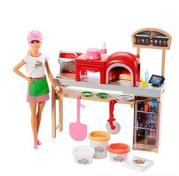 Boneca Barbie Pizzaiola 2019 Chefe Pizza Mattel Pizzaria Com Acessórios