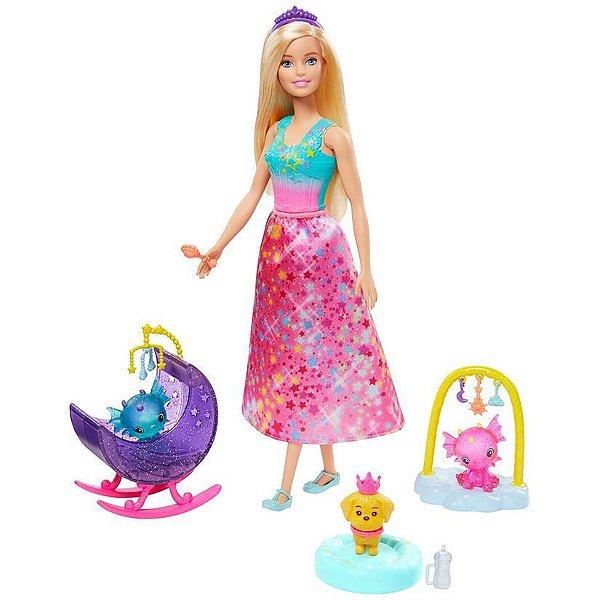 Barbie Dreamtopia Dia De Pets Babá De Dragões Bebês Lindos