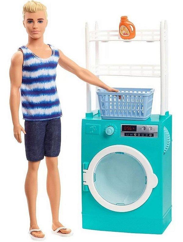 Barbie Ken E Moveis Maquina De Lavar Roupas Com Acessórios
