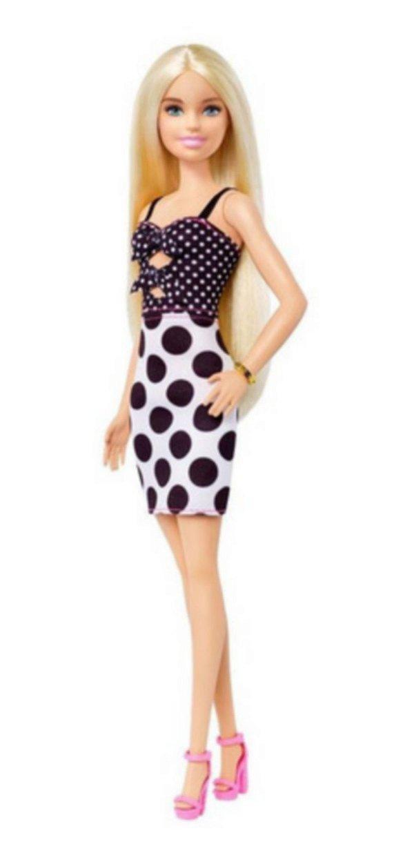 Boneca Barbie Fashionista Loira Com Vestido De Bolinha Clássica