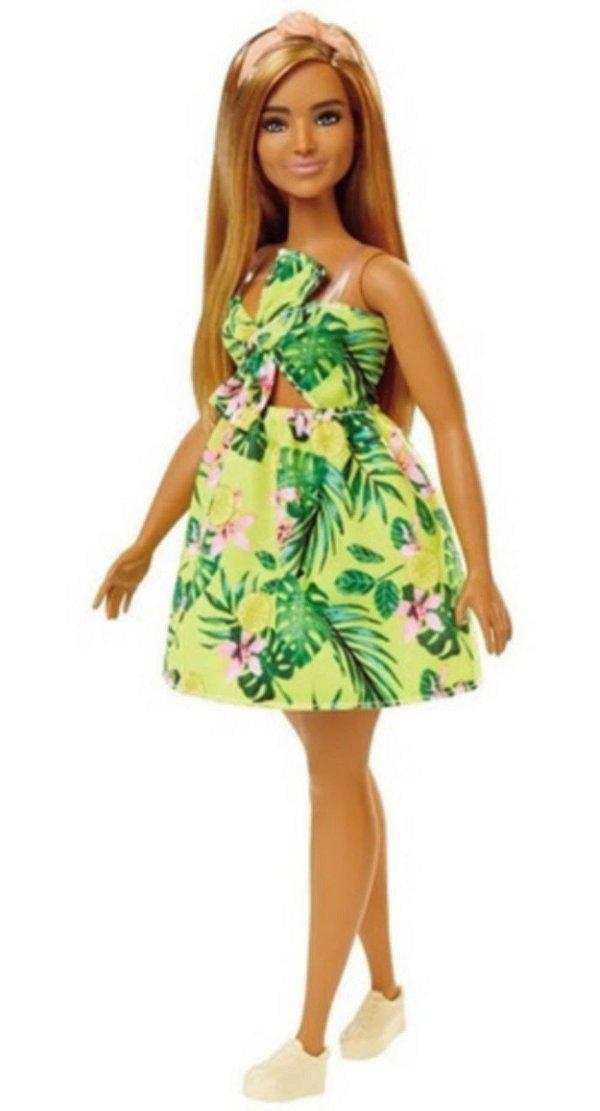 Boneca Barbie Fashionista Loira Com Vestido Amarelo Florido