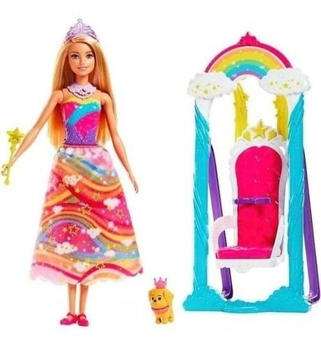 Boneca Barbie Dreamtopia Balanço Trono Arco Iris Magico