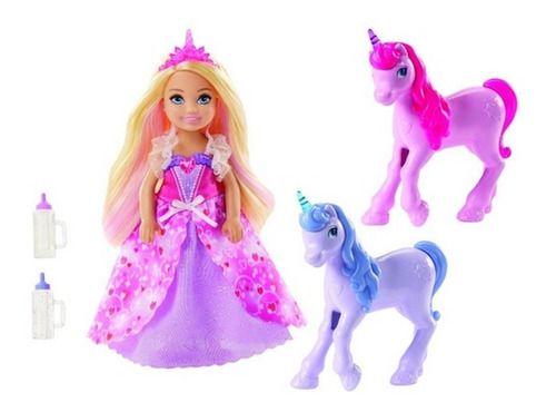Boneca Barbie Dreamtopia Chelsea E 2 Unicórnios Mágicos
