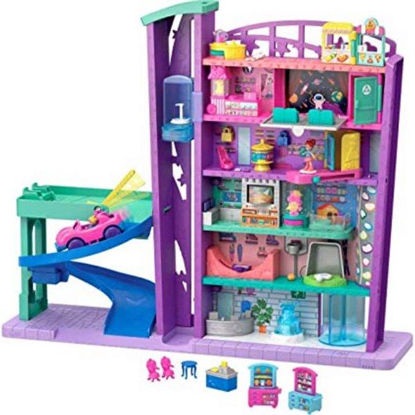 Polly Pocket  Mega Centro Comercial Shopping Com 5 Andares - Estacionamento - Rampa de Skate - Completa