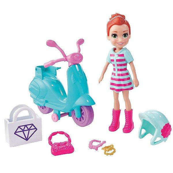 Mini Boneca Polly Pocket Aventura Motocicleta Com Acessórios - Ruiva