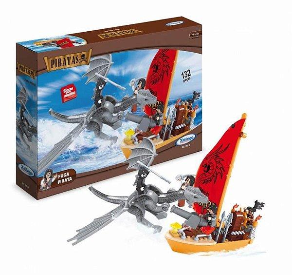 Blocos De Montar Fuga Dos Piratas - Dragão E Piratas 132 Pc
