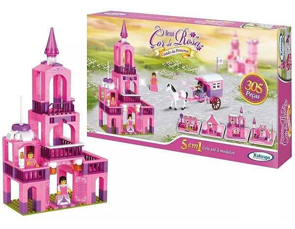 Blocos De Montar Castelo Princesa Reino Cor De Rosa 5 Em1