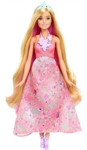 Barbie Princesa Cabelos Coloridos Vestido Floral