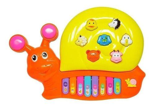 Piano Musical Animal Infantil Caracol Ascende Luz e Som
