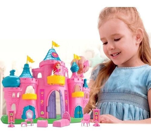 Castelo Completo Da Princesa Judy Boneca E Móveis Rosa