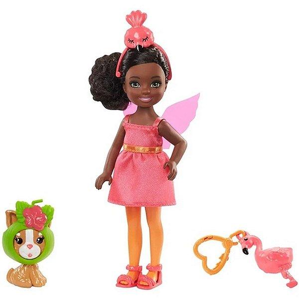 Boneca Barbie Chelsea Club Com  Bichinho Fantasia Flamingo