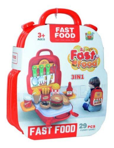 Maleta Fast Food Educativo 3 Em 1 Mochila 29 Pcs