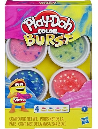 Massa De Modelar Play Doh Color Burst 4 Potes Massinha