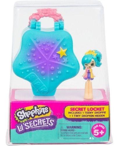 Micro Shopkins Secrets Concha Azul Mini Boneca Pingente