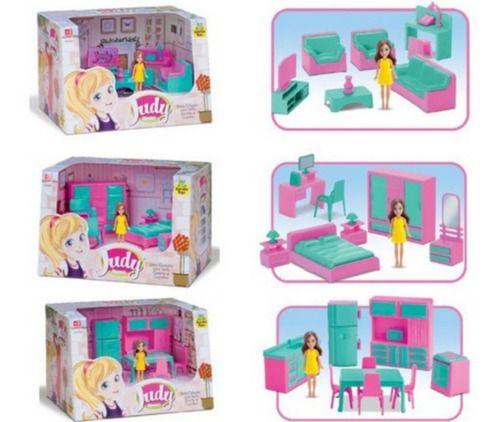 Coleção Casa Boneca Judy Sala Quarto Cozinha 25 Peças