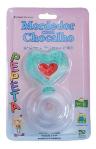 Kit Mordedor Com Chocalho 2 Em 1 - De Coração Com Bolinha Verde