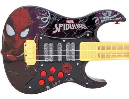 Guitarra Elétrica Homem Aranha Infantil Musical - Com Luz