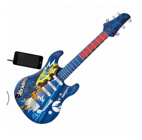 Guitarra Infantil Hot Wheels Elétrica Azul Com Luzes Fun