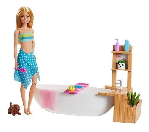 Barbie Banho De Espumas Com Acessórios/ Banheira E Pet