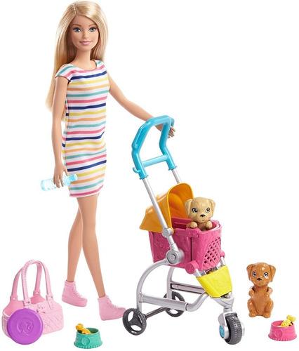 Barbie Loira E Carrinho De Pet Passeando Com Pet Acessórios