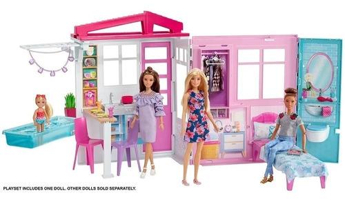 Boneca Barbie Casa Glam De Luxo De 60cm 2 Em 1 + Boneca