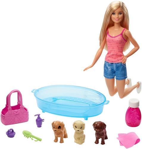 Boneca Barbie E Pets Cuidando De Cachorrinhos - Com Piscina