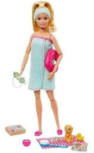Boneca Barbie Fashionista Loira - Dia De Spa Com O Pet