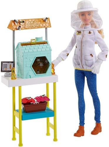Boneca Barbie Profissão Apicultora Com Playset Abelhas E Mel