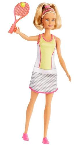 Boneca Barbie Profissões Loira Tenista Com Raquete 30 Cm
