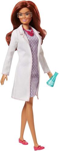 Boneca Barbie Profissoes Quero Ser Cientista Morena De Luxo