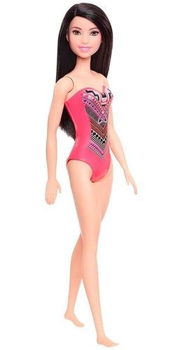 Boneca Barbie Roupa De Praia Morena Maiô Rosa Cabelo Longo