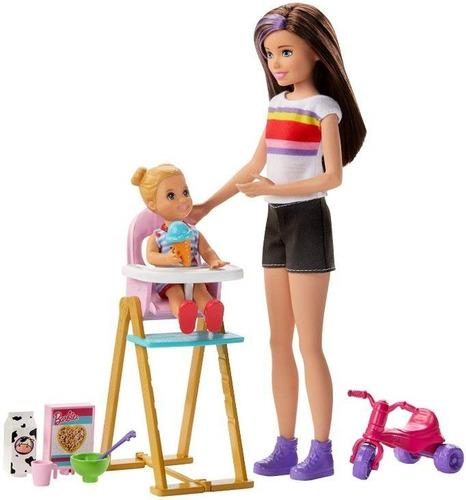 Boneca Barbie Skipper Babysitter Hora De Comer C/ Cadeirinha