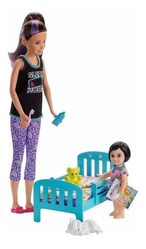 Boneca Barbie Skipper Babysitter Hora De Dormir Com Caminha