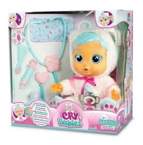 Boneca Cry Babies Kristal Catapora E Chora Com Kit Medico