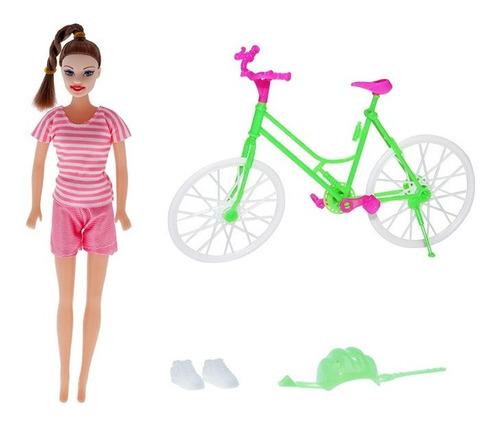 Boneca Joyce Ciclista - Bike Com Acessorios - Morena