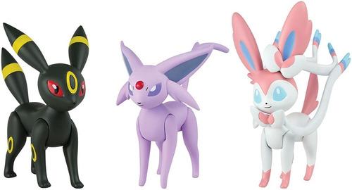 Kit 3 Bonecos Pokémon Umbreon - Sylveon - Espeon Trio Tomy