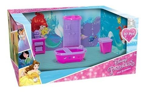 Casinha Com Moveis Mini Banheiro Princesas Disney - 06 Pcs